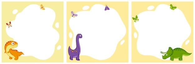 Dinosauri. set di cornici vettoriali sotto forma di un punto in stile cartone animato piatto. modello per foto per bambini, cartoline, inviti.