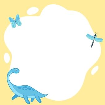 Dinosauri. blocco per grafici di vettore sotto forma di un punto in stile cartone animato piatto. modello per foto per bambini, cartoline, inviti.