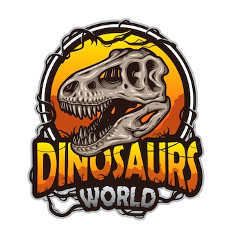 Emblema del mondo di dinosauri con teschio di tirannosauro. colorato isolato su sfondo bianco