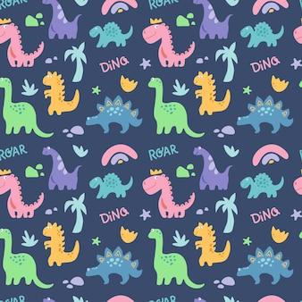Dinosaurus carino modello senza cuciture con ramo di pietra di palma arcobaleno isolato su blue