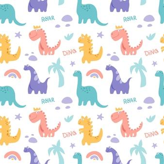 Dinosaurus carino modello senza cuciture con ramo di pietra di palma arcobaleno isolato su bianco