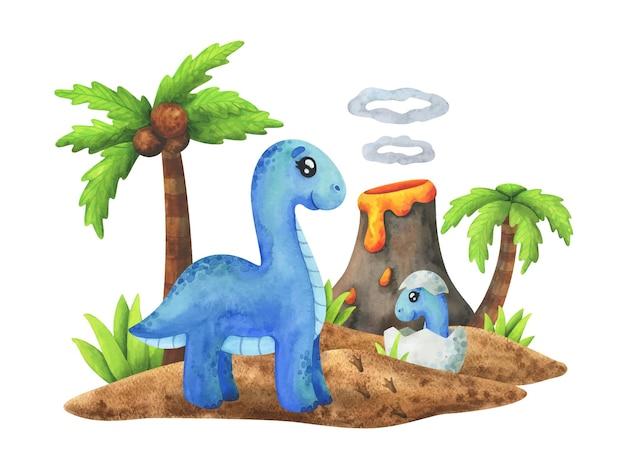 Diplodocus madre con un bambino nel suo uovo su un'isola. dinosauri blu nella giungla, stampa animalier