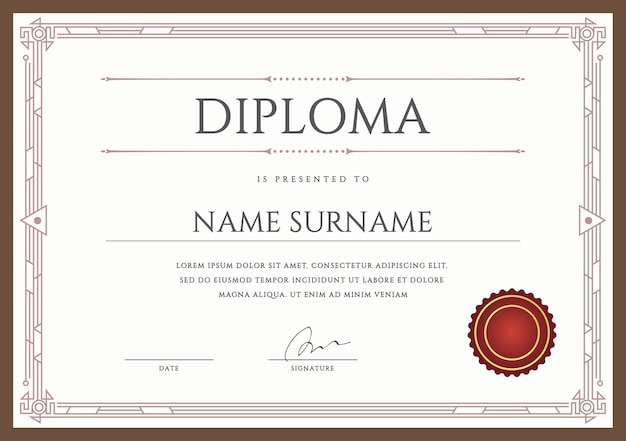 Diploma o certificato premium design template