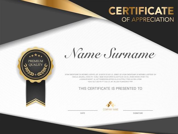 Modello di certificato di diploma di colore nero e oro con immagine vettoriale di lusso e stile moderno
