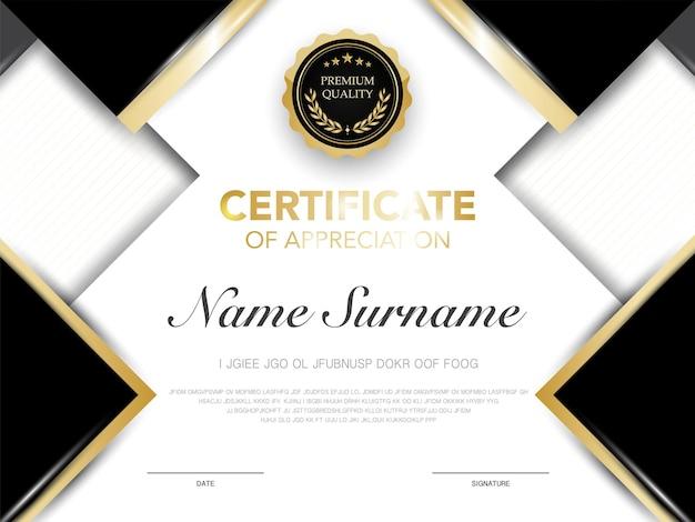 Modello di certificato di diploma colore nero e oro con immagine vettoriale di lusso e stile moderno