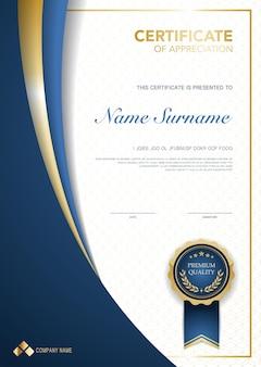 Modello di certificato di diploma di colore blu e oro con immagine vettoriale di lusso e stile moderno adatto