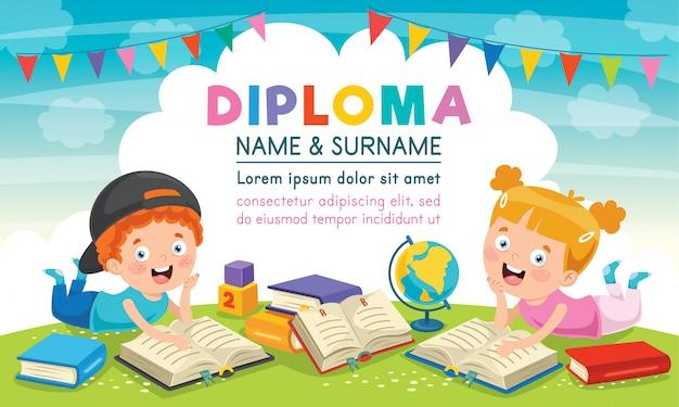 Diploma certificato modello design per l'educazione dei bambini