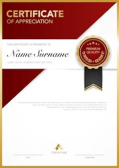 Modello di certificato di diploma di colore rosso e oro con immagine vettoriale di lusso e stile moderno adatto