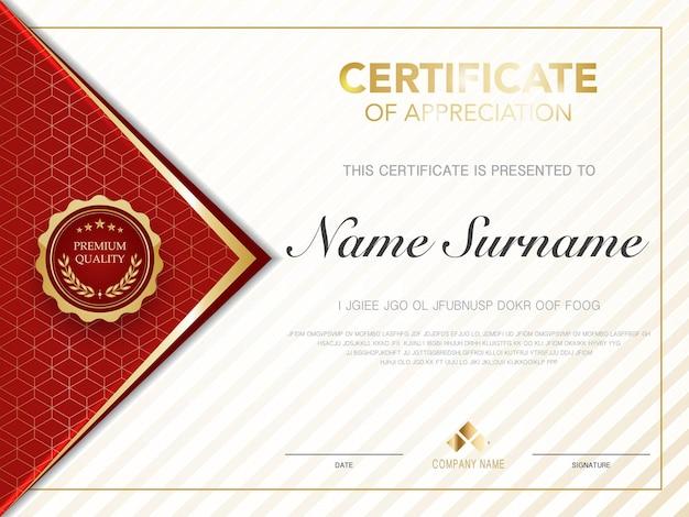 Modello di certificato di diploma colore rosso e oro con immagine vettoriale di lusso e stile moderno