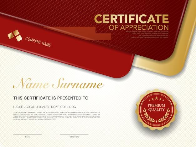 Modello di certificato di diploma di colore rosso e oro con immagine vettoriale di lusso e stile moderno