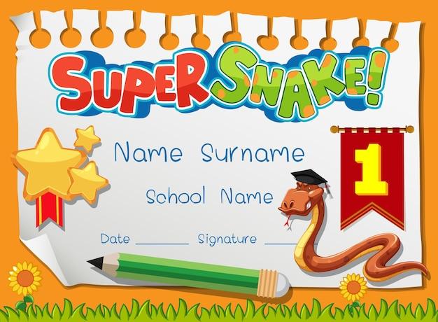 Modello di diploma o certificato per ragazzi delle scuole con super serpente