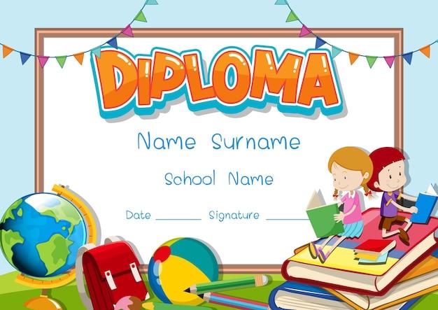 Modello di diploma o certificato per bambini in età scolare
