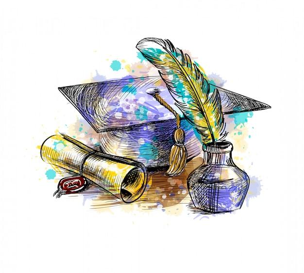 Diploma di laurea con un cappello da laureato e una penna da una spruzzata di acquerello, schizzo disegnato a mano. illustrazione vettoriale di vernici