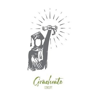 Illustrazione del diploma in mano disegnata
