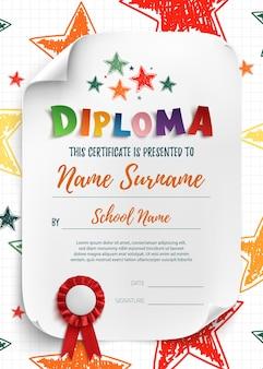 Modello di diploma per bambini, sfondo certificato con stelle disegnate a mano per scuola, scuola materna o asilo nido.