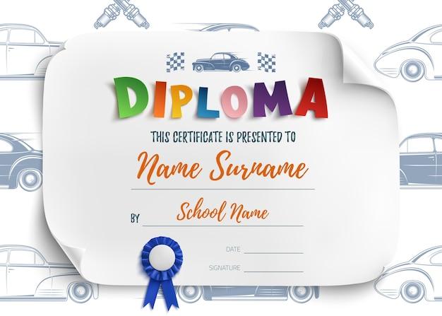 Modello di diploma per bambini, sfondo certificato con auto da corsa per scuola, scuola materna o asilo nido.