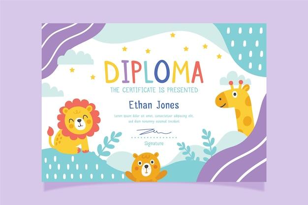 Modello di diploma con tema per bambino