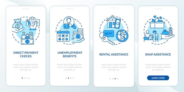Il pagamento diretto controlla la schermata della pagina dell'app mobile di onboarding con concetti