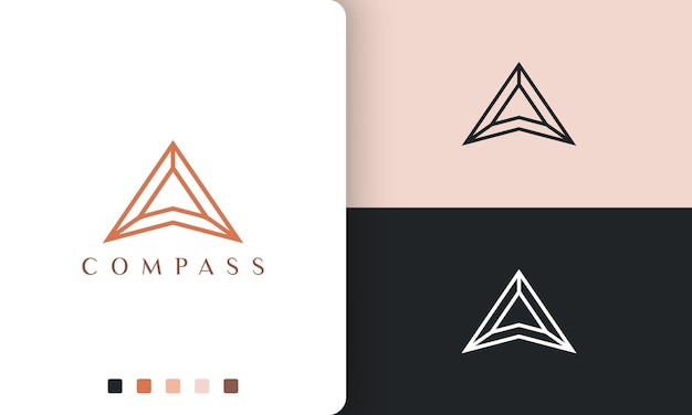 Direzione o bussola logo disegno vettoriale con stile semplice e moderno