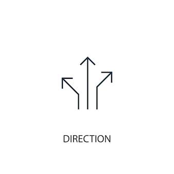 Icona della linea di concetto di direzione. illustrazione semplice dell'elemento. disegno di simbolo di contorno del concetto di direzione. può essere utilizzato per ui/ux mobile e web