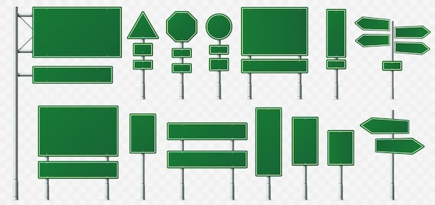 Bordo del segnale di direzione, segni della destinazione della strada, bordi del segnale stradale e puntatore verde dell'insegna di direzione isolato