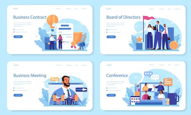 Layout web del consiglio di amministrazione o set di pagine di destinazione. pianificazione e sviluppo aziendale. processo di brainstorming o negoziazione.