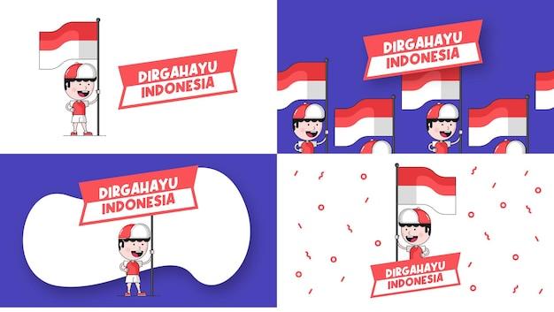 Dirgahayu indonesia è congratulazioni per l'anniversario dell'indipendenza dell'indonesia. illustrazione felice della priorità bassa del giorno dell'indipendenza indonesiana
