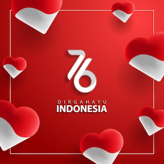 Dirgahayu indonesia o longevità indonesia per il giorno dell'indipendenza dell'indonesia che saluta il 76 ° anno di sfondo banner indonesia