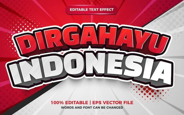 Effetto di testo modificabile 3d indonesiano dirgahayu per lo stile del fumetto del giorno dell'indipendenza dell'indonesia
