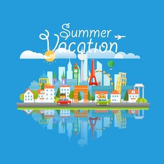 Attrazioni famose in tutto il mondo. concetto di viaggio per le vacanze estive. paesaggio urbano moderno illustrazione di viaggio vettoriale