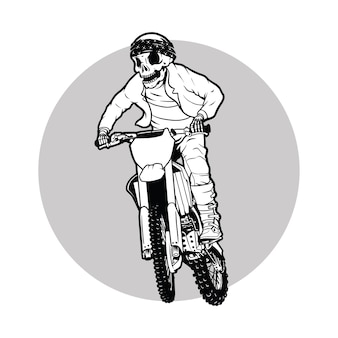Bici sporca, cranio del pilota di motocross