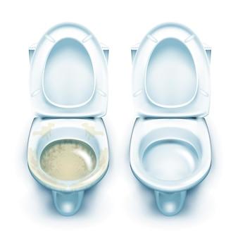 Sporco e pulito wc toilette tool set vettore. sanitari igienici in ceramica antigienici e lavati intasati. pulizia del gabinetto domestico lavori domestici igienici illustrazioni realistiche in 3d