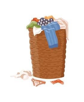 Vestiti sporchi. cesto della biancheria pieno di vestiti puzzolenti