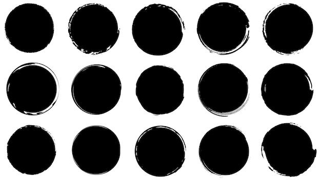 Cornici sporche per il design in stile grunge. pennellate di inchiostro. set di trame di difficoltà di forme rotonde e organiche. sfondi isolati per la progettazione di cornici di testo, poster, striscioni. nero bianco. vettore