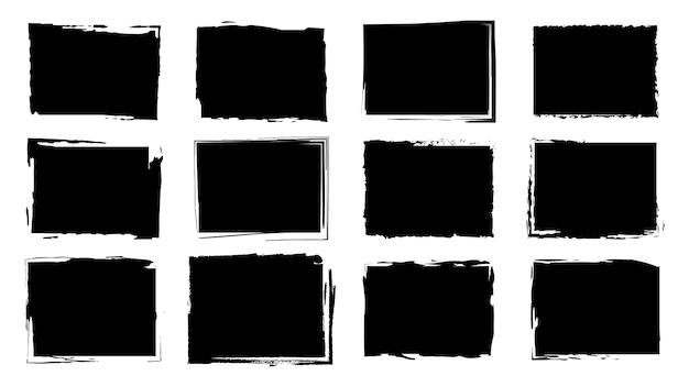 Cornici sporche per il design in stile grunge. pennellate di inchiostro. un insieme di texture di soccorso di forma quadrata o rettangolare. sfondi isolati per la progettazione di cornici di testo, poster, striscioni. nero bianco.