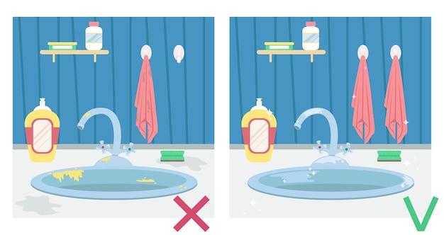 Lavello della cucina sporco e lavello pulito. illustrazione prima e dopo. lavori di casa.