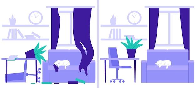 Stanza sporca disordinata e pulita a casa prima e dopo la pulizia