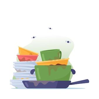 Pila di piatti sporchi, pila di piatti, tazze e padella per lavare, utensili puzzolenti antigienici, stoviglie o utensili da cucina con mosche intorno isolati su sfondo bianco