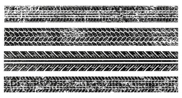 Tracce di pneumatici testurizzati sporchi