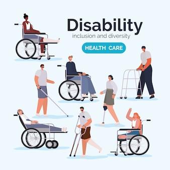 Cartoni animati di persone con disabilità con protesi per sedia a rotelle e calco di tema diversità inclusione e assistenza sanitaria.