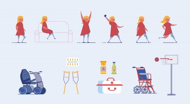 Set di caratteri per bambini con disabilità e bisogni speciali.