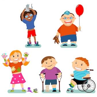 Disabilità e bisogni speciali dei bambini con gli amici. personaggi dei cartoni animati di vettore messi isolati