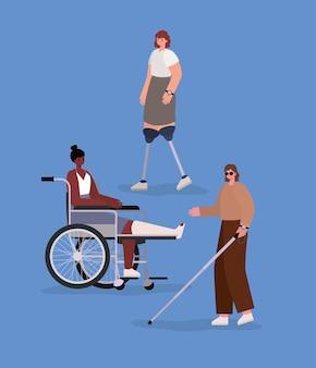 Cartoni animati per donne con disabilità con bastone per protesi per sedia a rotelle e calco di tema diversità inclusione e assistenza sanitaria.