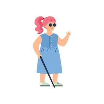 Ragazza cieca disabile con l'illustrazione di vettore del fumetto del bastone da passeggio isolata