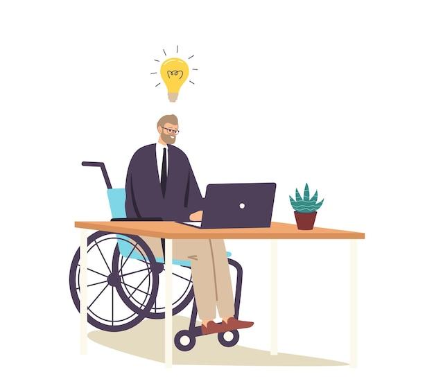 Personaggio di uomo d'affari disabile su sedia a rotelle che lavora al computer che sviluppa idee creative, lavoro online o avvio