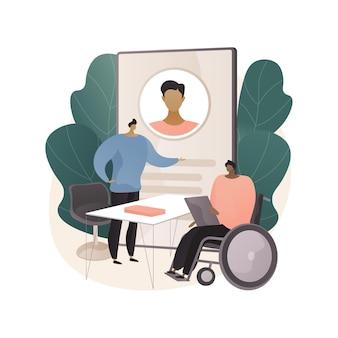 Illustrazione di concetto astratto di occupazione disabile