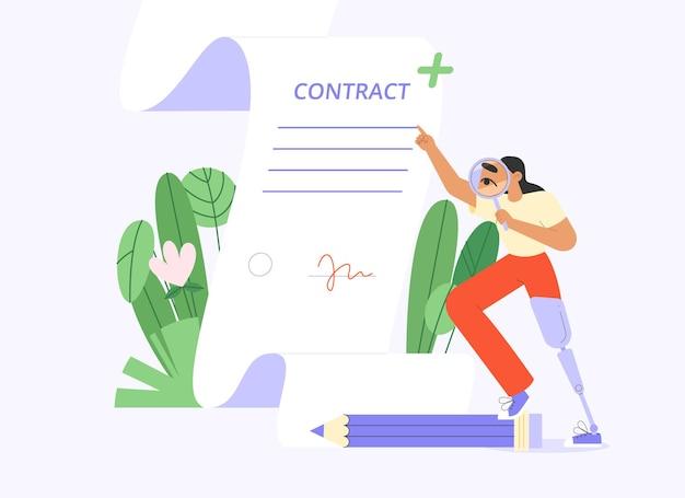 Personaggio femminile disabile con una protesi firma di un contratto.