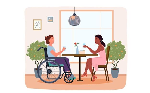 Personaggio femminile handicappato di ragazza disabile in sedia a rotelle e donna che beve, parla, amicizia