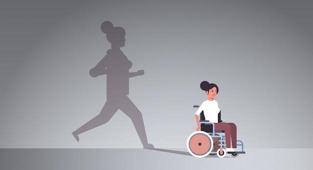Ragazza disabile su sedia a rotelle sognando il recupero