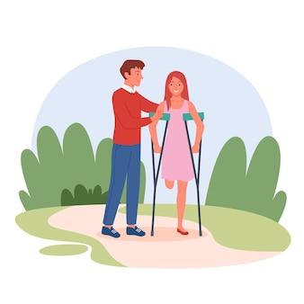 Ragazza disabile senza gamba dopo l'illustrazione di vettore di incidente di infortunio. cartone animato giovane donna handicappata